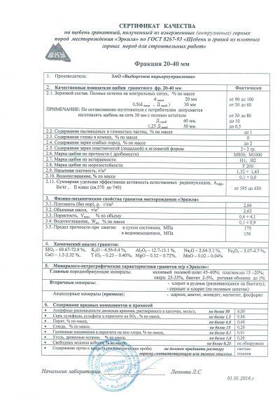 Сертификат качества на щебень гранитный фракции 40-70 мм